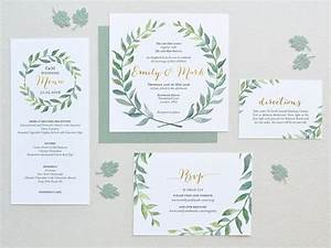 watercolor wedding invitation leaves wreath set square With wedding invitation with watercolor leaves and butterflies