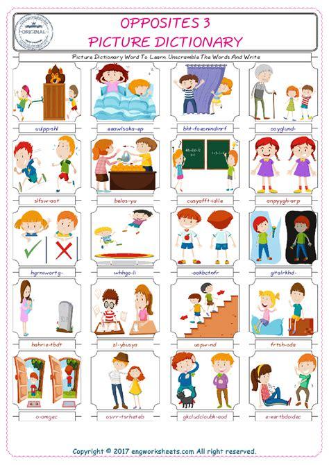 opposites english worksheet  kids esl printable picture