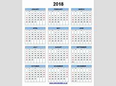 2018 Calendar UK calendar printable free