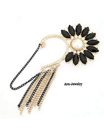 23685 Safetyserve Coupon by Vera Black Flower Tassels Design Alloy Korean Earrings