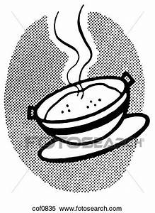 A black and white version of a hot bowl of soup Stock ...