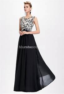 Robe de ceremonie noire et blanchefemme robe longue chic for Robe femme solde