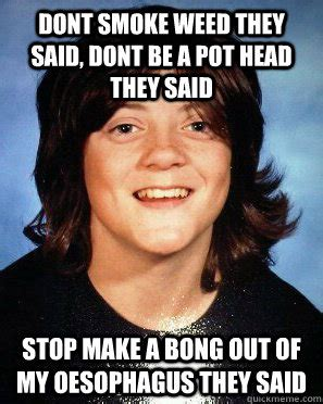 Smoke Weed Meme - dont smoke weed they said dont be a pot head they said stop make a bong out of my oesophagus