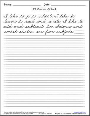 Cursive Handwriting  Read And Write  Zb Style Font  Handwriting Practice Abcteach