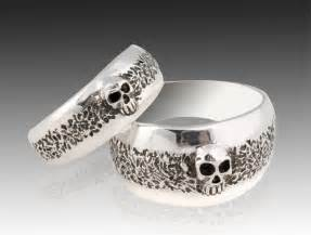 engagement rings with skulls silver skull wedding ring set solid sterling silver wedding