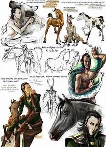 Loki and his children. I especially love Sleipner, the ...