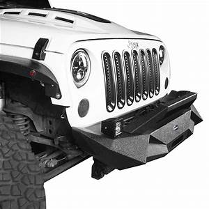Blade Front Bumper 2x Led Lights  U0026 Winch Plate For Jeep
