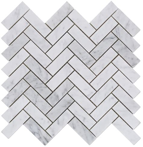 carrara bianco polished 1x3 herringbone marble