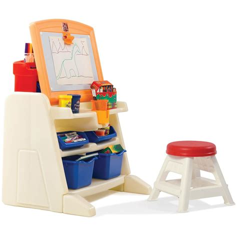 step 2 desk and stool step 2 flip doodle easel desk with stool 190679 toys