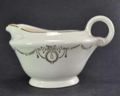 Knowles Gravy Boat by Edwin M Knowles 1942 Gravy Boat Creamer Gold Trim Knowles