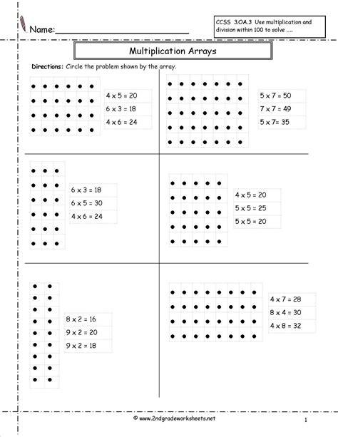 Printables 2nd Grade Multiplication Worksheet Multiplication Arrays Worksheets Array Worksheets