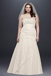 davids bridal lace a line side split plus size wedding With david s bridal plus size wedding dresses