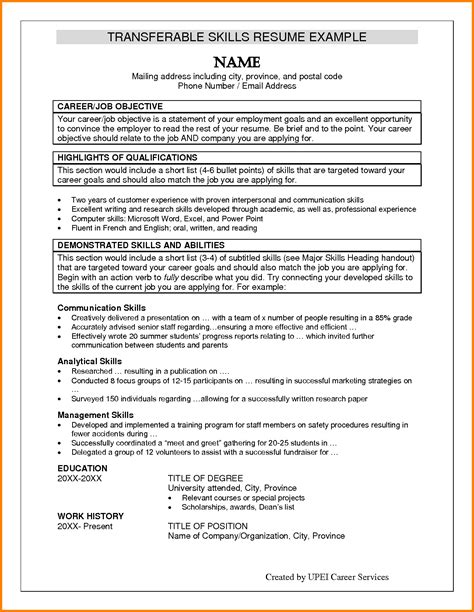 Working Skills Resume by 11 Exle Of A Skill Penn Working Papers