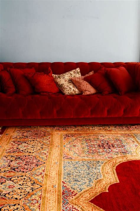 love  rich colors   carpet sofa red couch