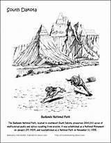 Coloring National Canyon Bryce Badlands Dakota Printables Designlooter Drawings sketch template