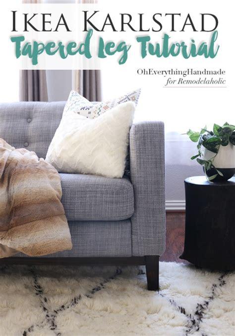 remodelaholic ikea karlstad sofa tapered leg tutorial