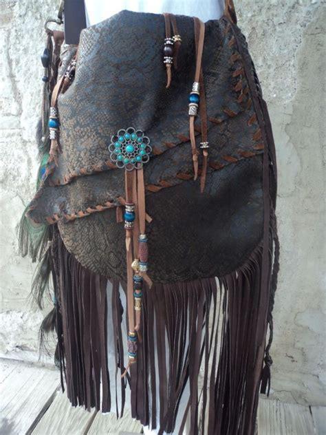 bags handbag trends handmade brown leather boho bag hippie western fringe cross body purse