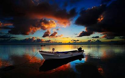 Boat Sunset Wallpapers Ship Desktop Landscape Rowing