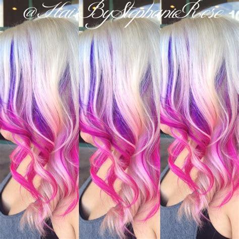 Purple To Pink Ombre Peekaboos On Blonde Hair