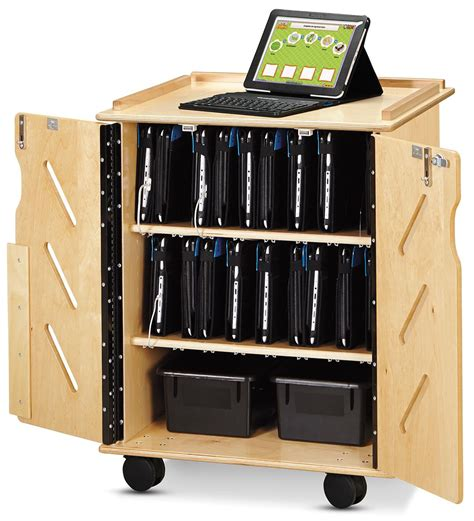 tablet storage and charging cabinet wood finish tablet cart portable secure 32 device stoarge