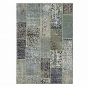 tapis de salon kilim patchwork gris bleu en laine et coton With tapis kilim avec meilleur marque de canapé