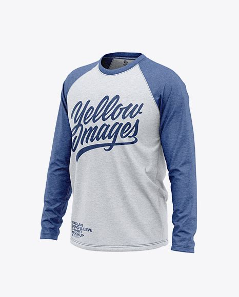 You can easily change your design with smart object. Men's Heather Raglan Long Sleeve T-Shirt Mockup - Front ...