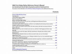 2002 Honda Civic Sedan Owner U2019s Manual