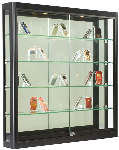 glass display cabinet hardware wall display case black finish ships fully assembled