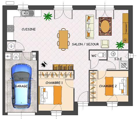 plan de maison 2 chambres plan maison plain pied 2 chambres garage immobilier pour