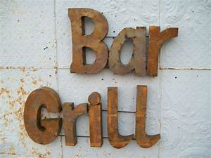 rusty grill 3 d sign great kitchen and bar wall art With bar wall decor