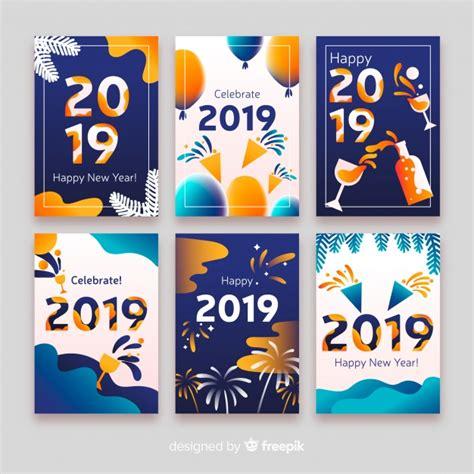 Tarjetas De Año Nuevo 2019  Descargar Vectores Gratis