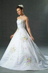 new pastel color embroidered white wedding dress bridal With color embroidered wedding dress