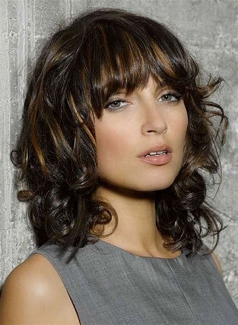 bangs wavy hair ideas  pinterest wavy bangs