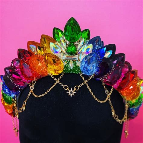 Rainbow Crown Gem Crown Colouful Queen Rave Festival ...
