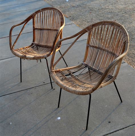 midcentury rattan and iron hairpin garden chairs