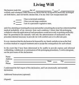 Sample living will 8 documents in pdf for Sample of living will template