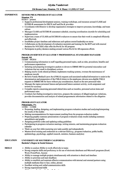 Resume Writing Programs by Program Evaluator Resume Sles Velvet