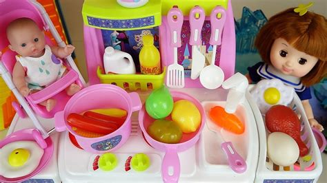 baby doll  frozen kitchen toys play doh cooking food