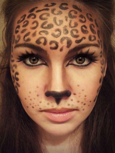 leopard kostüm selber machen klasse fasching make up idee leoparden schminke noch