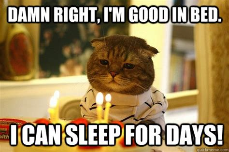 Damn Right, I'm Good In Bed. I Can Sleep For Days