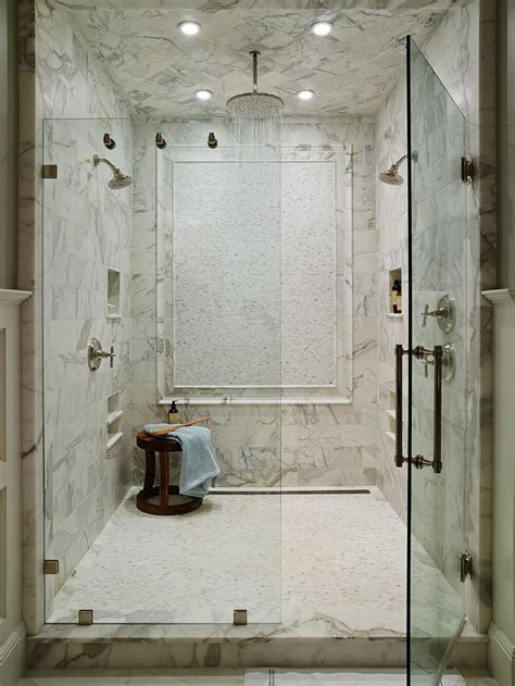 custom tile shower honed calacatta marble mosaic floor rail molding panel ceiling stone