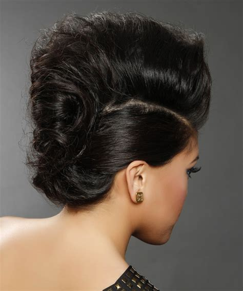 long curly formal updo hairstyle black hair color