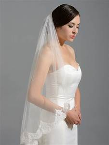 Ivory elbow alencon lace wedding veil V049