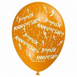 ballon joyeux anniversaire orange décoration goûter d