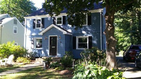 sherwin williams smokey blue black shutters white trim paint    waiting