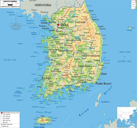 physical map  south korea ezilon maps