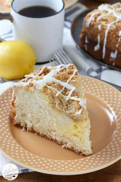 It's dense and moist just like a classic coffee cake, but is baked with fresh lemons and a crunchy. Cream Cheese Swirled Lemon Coffee Cake - A Kitchen Addiction