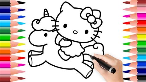 hello pictures to color how to draw and colour hello with unicorn