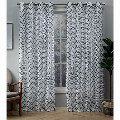 Curtains Indigo Sheer Grommet Printed Curtain Panels