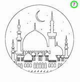 Mosque Coloring Drawing Ramadan Colouring Islamic Eid Crafts Masjid Printable Colour Islam Activities Printables Children Moskee Karim Mubarak Drawings Mosques sketch template